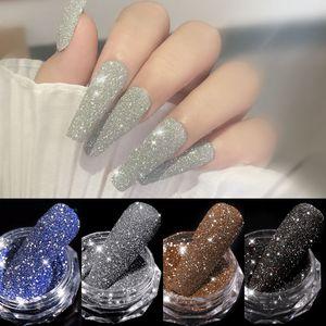 1Box Sparkling Diamond Nail Powder Laser Silver Reflective Nail Glitter Dust Fine Shiny Pigment Holographic Nail Art Decorations