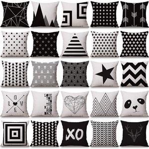negro funda de almohada blanca cubre la geometría del amortiguador de algodón funda de almohada de lino Halloween Navidad para Sofá cama nórdica Throw Pillow caso BWC3483