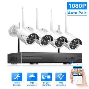 Kits de caméra sans fil CCTV 8 canaux Système de sécurité Kit SURVEILLANCE NVR SURVEILLANCE 8CH 1080P Plug and Jouer étanche