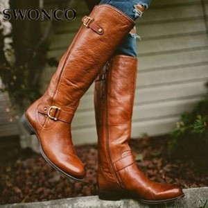 SWONCO Women Boots Autumn Knee High Boots Retro Leather Brown Windproof Buckle 2019 New Ladies Plus Size 43 42 Riding Shoes Snow201103