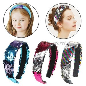 Women Reversible Sequins Mermaid Hairbands Wide Glitter Headband Girls Hair Hoop Turban Hair Accessories Headdress Gifts