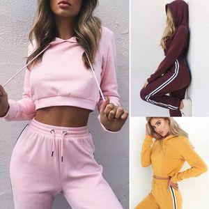 FixSys 2019 Automne 2pcs Tracksuit Femme Sweat à capuche Sweat Sweatshirt Crop Tops Pantalons Ensemble Set de Sport Casual Sports Sweat