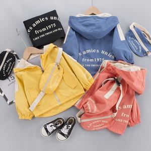 Outono casual meninos casacos casacos de manga comprida zíper casacos com capuz crianças crianças crianças outwear casacos casaco + saco s11108 201030