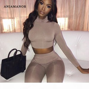 ANJAMANOR 2020 Fall Fashion Sexy Two Piece Tights Set Autumn Winter Outfits for Women 2 Pcs Matching Sets Lounge Clothes D66AD71