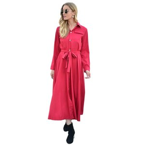 Jane Deiune 2021 New Autumn Winter Women Long Sleeved Solid Long Dress Lady Casual Elegant With Sashes Chic Vestido