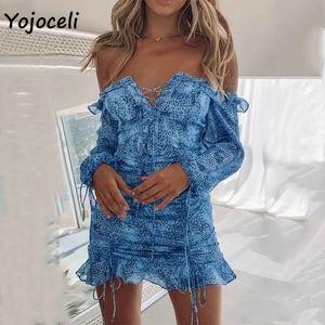 Yojoceli women off shoulder print dress women lace up boho beach party dress bodycon mini dress long sleeve spring 200928