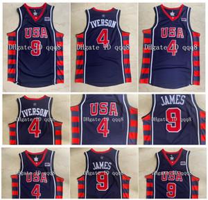 Высшее качество ! 4 Аллен Иверсон Джерси Леброн 9 Джеймс 2004 Олимпийская команда Мечта Колледж Баскетбол Майки Зеленый Спортивный Размер S-XXL