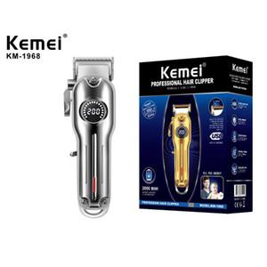 Kemei KM-1986 Coupe-cheveux professionnels Coupe-cheveux sans fil coiffeuse coiffure tondeuse à cheveux Ajustement de la lame d'affichage LCD affichage Beach 1986 trimmer chargeur USB