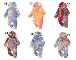 Baby Boys Girls Born Hooded Romper Tie Dye Clothing Bodysuit Long Sleeve Autumn Jumpsuits 2020 New Fashion Boutique Designer Clothes