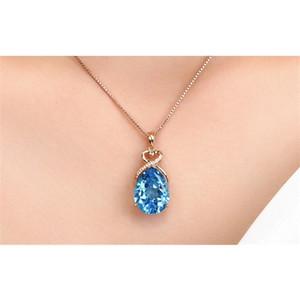 3 quilates Piedra Piedra Pure Natural Blue Sapphire Gemstone 14k Collar de oro rosa Colgante de joyería Q1219
