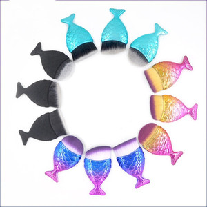 Free shipping Make Up Brushes Cosmetic Professional Tail Mermaid Holder Shape Makeup Brush Foundation Cosmetic Fish Tools Kit Powder Face