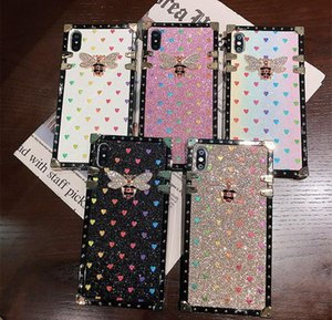 Luxury Leather Phone Cases for iphone 11 Pro X XS Max XR 7 8 Plus Fashion Square Rhinestone 3D Bee Phone Back Cover Coque Case