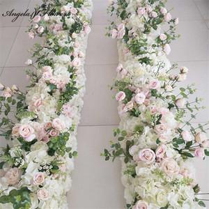 Party celebration wedding decor backdrop road lead flower row artificial flower arrangement rose peony leaf table ball
