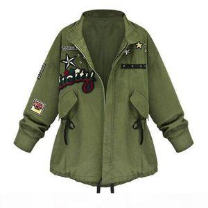 Wholesale- Autumn Winter 2016 Women Army Green Bomber Jacket Tops Long Sleeve Slim Outwear Overcoat Woman Basic Coat