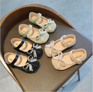 Niños Zapatos casuales Kid Baby Girls Individual Danza suave Solid Sold Slight On Shoes Bowknot Cuero Princess Zapatos
