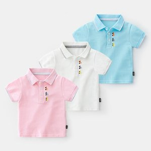 Kids summer summer cotton short-sleeved kids polo shirt baby boy solid color polo shirt 2-7 years old