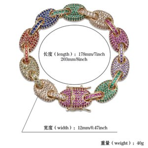 Fashion- Gold Plated Multi Color Cubic Zirconia Mens Hip Hop Cuban Link Chain Bracelet Miami Rapper Wristband Jewelry Chains for Boys