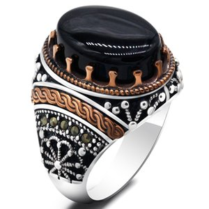 Turkish Black Men's Ring with Natural Agate 925 Sterling SIlver Vintage Classic Aqeeq Rings Antique Punk Jewelry Male Women Gift