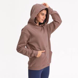 L-27 Autunno Inverno incappucciato Outdoor Leisure maglione palestra abiti da donna loose thick Yoga Tops Felpe Correre Esercizio Fitness Cappotto Felpa