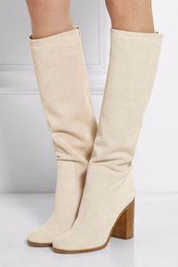 Gullick Beige Fabric Women Boot Round toe Chunky Heel Slip-on Knee-high Women Winter Long Boots Runway Dress Shoes Real Photo