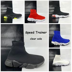 Paris Speed Trainer Freizeitschuhe Klar Sole Socken Schuhe triple schwarz weiß gelb Fluogrün Volt oreo weinrot Männer Frauen Turnschuhe Turnschuhe