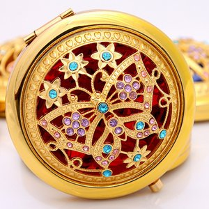 Chic Retro Vintage Gold Metal Pocket Mirror Compact Cosmetic Retro Mirrors Crystal Studded Portable Makeup Beauty Tools
