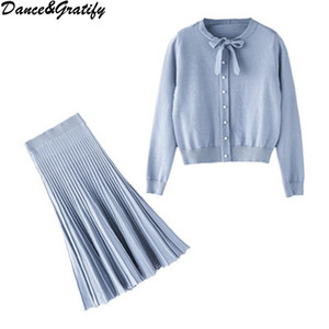 Fashion Sweet Girl 2   Two Pieces Sets Elegant Slim Bow Collar Knitted Sweater Tops + Pleated Skirt Suit For Women Clothing 201012