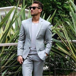 Casual Grey Men Suits For Wedding Groom 2Pieces(Jacket+Pant+Tie) Fashion Prom Bridgegroom Slim Fit Terno Masculino Blazer 549
