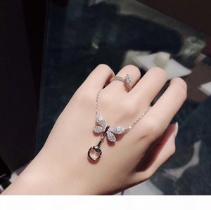 Luxury Classic Designer S925 Sterling Silver Full Crystal Butterfly Charm Buckle Pendant Short Chain Necklace For Women Jewelry