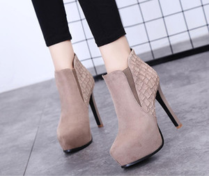 12cm pointed stiletto stiletto ankle boots waterproof platform platform high-heeled Martin boots high-heeled shoes autumn and winter