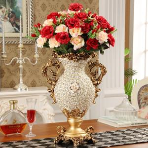 Europeo de lujo Diamond Palace Large Vase Resina Figuras decoración del hogar artesanía Hotel Retro flor artificial arreglo arte