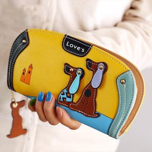 Yeni Kadın Cüzdan Uzun Fermuar Sevimli Karikatür Köpek Cüzdan Bayan Sahipleri Çanta Lady Çoklu kart Debriyaj Para Kadınlar Çanta Lovely bit