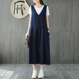 EaseHut Baumwolle Leinen ärmelloses Kleid Frauen mit V-Ausschnitt Taschen beiläufige Midi-Kleider Vestidos 4XL 5XL plus Größen-Frühlings-Sommer-Kleid Y200103 727i #