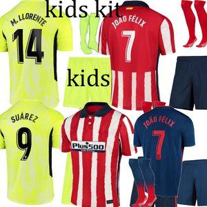 20 21 Atletico SUAREZ AT.Madrid JOAO FELIX maison Kit bleu vert enfants football maillot DIEGO COSTA JOAO FELIX enfants Camisetas de Fútbol Chemise 2021