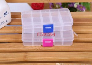 Fedex Dhl Free Shipping Adjustable 10 Compartment Plastic Clear Storage Box For Jewelry Earring Tool Co wmtXZu dh_garden