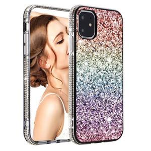 럭셔리 그라데이션 반짝이 모조 다이아몬드 케이스 여성 아이폰 12 Mnin i 전화 11 Pro XR XS Max 6 7 8 Plus