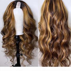 Ombre resaltar castaño rubio T humana Parte de pelucas de pelo para las mujeres Negro Remy brasileño densidad de 150% en forma de U pelucas pequeña aviable casquillo