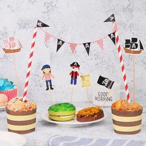 Tinksky Karikatür Birthday Cake Garland Bunting Bayrak Topper wraper Dekorasyon Setleri Erkek Bebek Duş Korsan Partisi bbysHE garden2010 Yana ayarlar