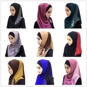 Chiffon Fashion Patchwork Convenient Muslim Lace Floral Embroidery Hijab Islamic Hijab Warp Headwear 201019