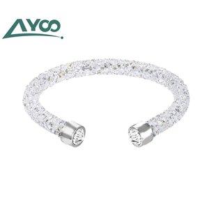 Ayoó de haute qualité SWA New Crystaldust manchette simple anneau brillant Cristal Mesdames Bracelet