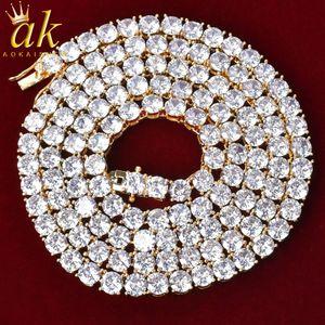 5MM Zirconia Necklace White Color Zircon Tennis Chain Material Copper Cubic Zircons Pendant Charms Fashion