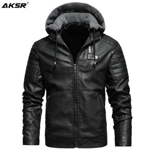 Men's Fur & Faux Fleece Liner PU Leather Jackets Coats With Hood Autumn Winter Casual Motorcycle Jacket For Men Windbreaker Biker