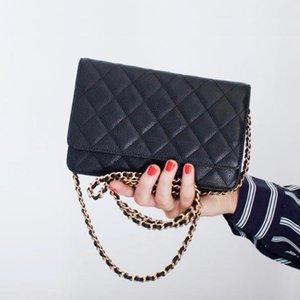 bolsos de lujo las mujeres del bolso de caviar clásicos de alta calidad monedero del diseñador bolso crossbody cadena de aleta feminina bolsas de mini hombro woc