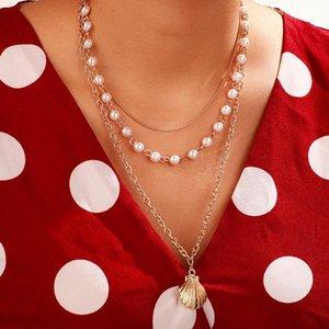 Bringle New 2020 Fashion Insh Vintage Cadena Colgante Choker Pearl Shell Simple Scallop Necklace para mujer Girls Regalos Party1