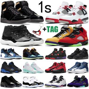 حذاء كرة السلة للرجال منretro 11 1 aj11  Jumpman 1s أسود وذهبي 4s أحمر فاير 5s 11s 25 الذكرى السنوية 12s 13s Hyper Royal في الهواء الطلق أحذية رياضية نسائية