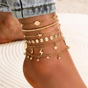 Yada Gold Lightningstar Pentagram Anklets Bracelet For Women Layer Moon Foot Ankle Beach Barefoot Sandals Ankle Female At200078 sqcfvz