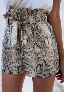 Snake Print High Waist Shorts Women 2021 Summer Paper Bag Sexy Elegant Fashion Lace Up Ruffle Mini Ladies Shorts Skirts