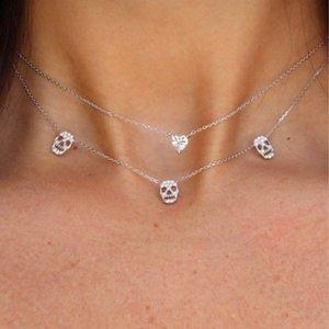 Colar de caveira Mulheres de prata esterlina 925 estilos ocidentais duplos multi-camada de prata cadeia colares ouro e whtie cor lj201009