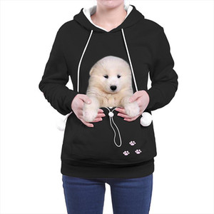 Women Sweatshirt And Hoody Ladies Pocket Hooded Cat Lovers Kangaroo Dog Pet Paw Pullovers Cuddle Pouch Nest Pullover
