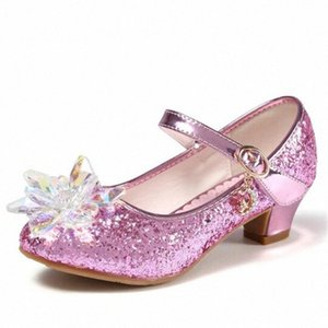 New Children Leather Shoes Girls Transparent Flower Silver Crystal Princess High-heeled Shoes Rhinestone Kids Wedding 02A QwxM#